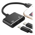 2-in-1 Charge & Audio Lightning Adapter - Black