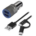 4smarts Hybrid Fast Car Charger Set - Charger & ComboCord Cable - 15.5W