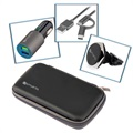 4smarts Travel Car Set - Car Charger, Car Holder, ComboCord Cable - Black