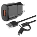 4smarts VoltPlug Wall Charger with ComboCord Cable - 18W - Black