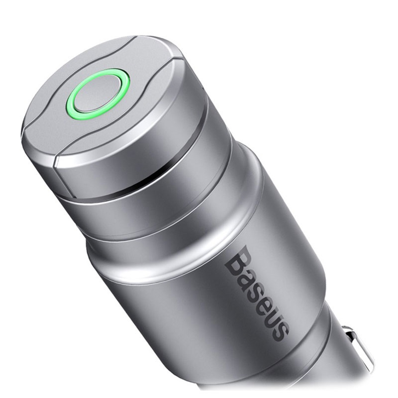Baseus 2 In 1 Bluetooth Headset Amp Car Charger Grey