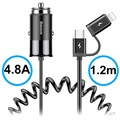 Baseus Enjoy Together 2-in-1 Car Charger - Type-C, Lightning