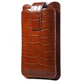 Doormoon 2-Pocket Universal Leather Pouch - Crocodile - Brown