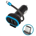 Forever CC-02 Car Charger with USB-C Cable and 2x USB Ports - 3A