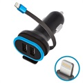 Forever CC-02 Lightning Car Charger with 2x USB Ports - 3A - Black / Blue