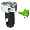 Q2Power Car Charger with Lightning Cable And 2 x USB Ports - Black