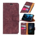Vintage Series Sony Xperia 10 Plus Wallet Case - Wine Red