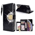 iPhone XS Max Glitter Wallet Case with Mirror - Black