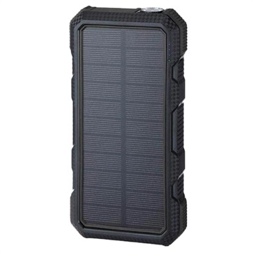 Water Resistant Solar Power Bank/Wireless Charger - 20000mAh - Black