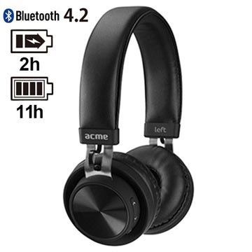 Acme BH203 Wireless Headphones - Bluetooth 4.2 - Black