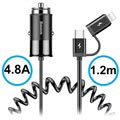Baseus Enjoy Together 2-in-1 Car Charger - Type-C, Lightning - Black